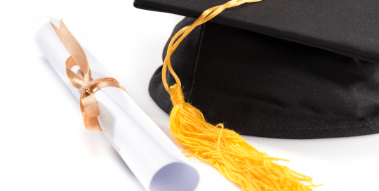 Graduation diploma & cap